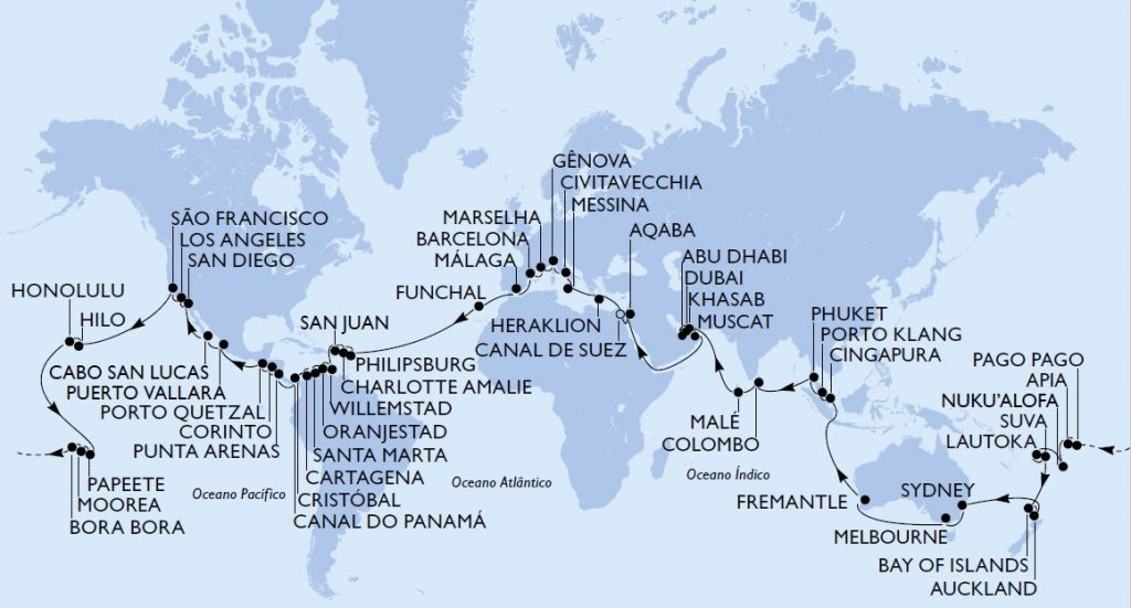 Roteiro do MSC World Cruise